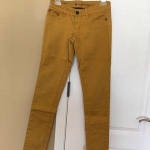 mustard yellow, straight jeans